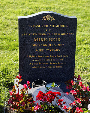 Mike Reid (actor) - Mike Reid's gravestone in the graveyard of St Mary's Church, Little Easton, Essex