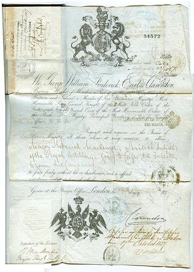 Signed Clarendon Military Passport 1857 Military passport 1857 signed by George Villiers, 4th Earl of Clarendon.jpg