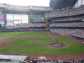 Miller Park, the current home of the Milwaukee Brewers.