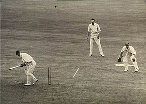 1946–47 Ashes series - Len Hutton was bowled by Keith Miller for 7.