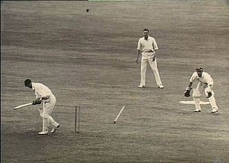 Keith Miller - Len Hutton's off stump has just been knocked out by Miller during the Third Victory Test.