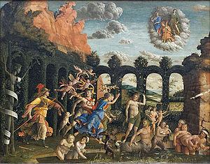 Triumph of the Virtues (Mantegna) - Image: Minerve chassant les Vices du jardin des Vertus, Mantegna (Louvre INV 371) 02