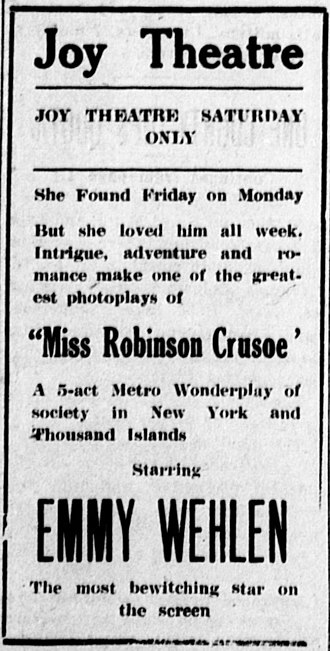 Miss Robinson Crusoe - Newspaper advertisement
