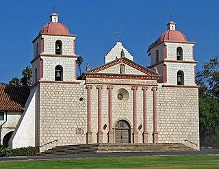 Spanish mission near present-day Santa Barbara, California