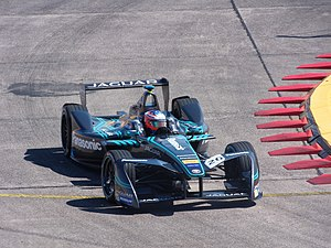 Jaguar Racing - Mitch Evans driving for Jaguar at the 2017 Berlin ePrix.