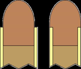 Heeled bullet design of bullet where the internal diameter of the barrel is often, but not always, the same diameter as the cartridge case