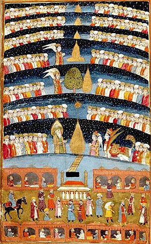 "Seven Heavens - A depiction of ""Muhammed's Paradise"". A Persian miniature from The History of Mohammed."