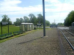 Monmouth Park station - The Monmouth Park station in 2010. Monmouth Park station has no asphalt platform and consists of benches and shelter, with a gravel platform.