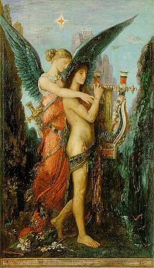 Hesiod - Hesiod and the Muse (1891), by Gustave Moreau. The poet is presented with a lyre, in contradiction to the account given by Hesiod himself in which the gift was a laurel staff.