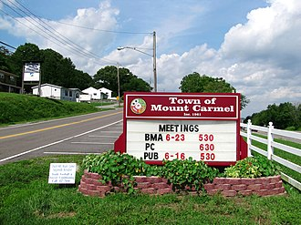Mount Carmel, Tennessee - Town of Mount Carmel sign along Main Street