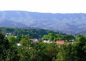 Mountain City, Tennessee - Mountain City, viewed from Sunset Memorial Park; the Iron Mountains rise in the background.