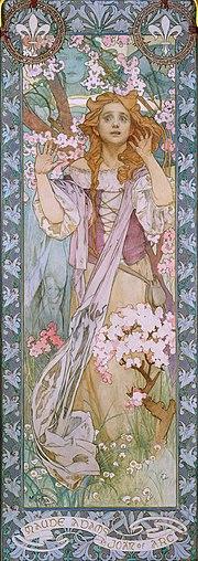 Maude Adams jako Joanna d'Arc, Alfons Mucha, plakat, 1909