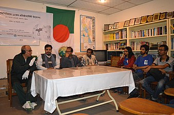 Muhammad Nurul Islam speaks about effects of Wikipedia at BNWIKI12 celebration in Chittagong (05).jpg