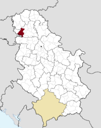 Location of the municipality of Bačka Palanka within Serbia