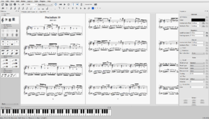 MuseScore 2.0 in full screen, showing palettes, inspector, and piano keyboard