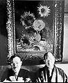 """Mushanokoji Saneatsu and Koyata Yamamoto with Vincent van Gogh's """"Sunflowers"""".jpg"""
