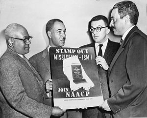 NAACP - NAACP leaders Henry L. Moon, Roy Wilkins, Herbert Hill, and Thurgood Marshall in 1956.