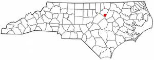 Bunn, North Carolina - Image: NC Map doton Bunn