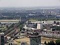 NRW, Düsseldorf - Rheinturm (view to Hammer Eisenbahnbrücke).jpg