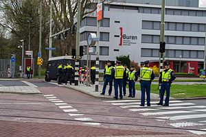 2014 Nuclear Security Summit - Police officers guarding an access way to the World Forum Convention Center.
