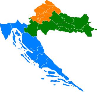 NUTS statistical regions of Croatia - NUTS of Croatia between 2007 and 2012