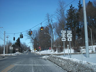 New York State Route 385 - NY 385 northbound at the junction with NY 23 in the town of Catskill