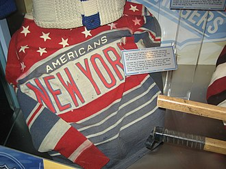New York Americans - Team jersey on display in the Hockey Hall of Fame.