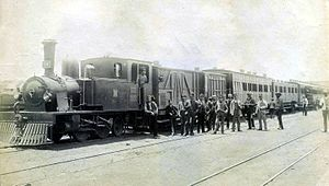 NZASM 19 Tonner 0-4-2T - 19 Tonner no. 34 at Johannesburg Station on the first train to reach Johannesburg from Cape Town, 15 September 1892