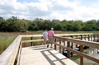 Government of Brevard County, Florida - Boardwalk over wetlands area at Chain of Lakes in Titusville