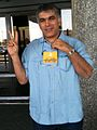Nabeel Rajab protesting outside Muharraq airport after being prevented from traveling to IFAX meeting in Beirut 29 May 2011.jpg