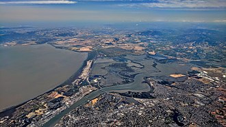 Napa River - Aerial view of the flatwater section of the Napa River where it divides Vallejo, California