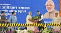 Narendra Modi being presented a bouquet by the Chief Minister of Maharashtra, Shri Devendra Fadnavis, at public meeting to mark Bhoomi Pujan of Dahisar-DN Nagar & Dahisar-Andheri Metro & Dr. Babasaheb Ambedkar Memorial.jpg