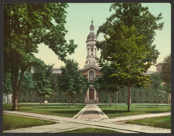 Nassau Hall (1756) in a 1903 photo, the campus's oldest building, original home of the New Jersey Legislature, and capital of the United States in the summer of 1783 Nassau Hall, Princeton University-LCCN2008679655.tif