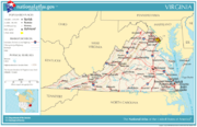 Map of Virginia's major cities and roads