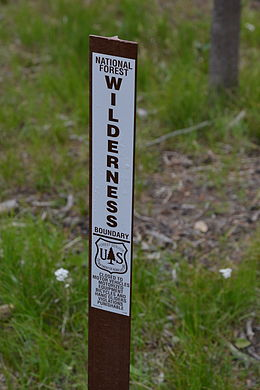 Wilderness boundary marker in Idaho National Forest Wilderness Boundary Marker.JPG