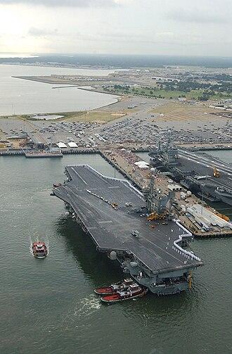 South Hampton Roads - USS John F. Kennedy (CV-67) arriving at Naval Station Norfolk