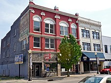 Old brick commercial buildings in historic district