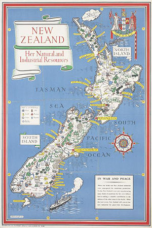 MacDonald Gill - 1943 map of New Zealand by MacDonald Gill