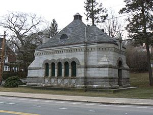 Chestnut Hill Reservoir Historic District - The gatehouse at the end of the Sudbury Aqueduct, a contributing structure to the district