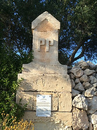 Private property - Proprietas Privata (PP) British period marker in San Martin, St. Paul's Bay, Malta