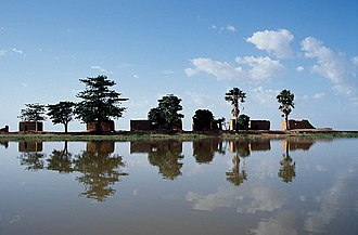 Niger River - Mud houses on the center island at Lake Debo, a wide section of the Niger River.