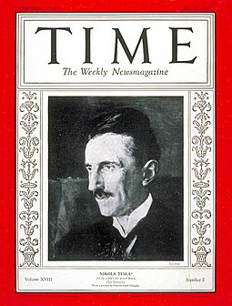 Tesla on Time magazine commemorating his 75th birthday Nikola Tesla on Time Magazine 1931.jpg