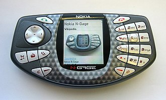 N-Gage (device) - An N-Gage displaying the N-Gage article on Finnish Wikipedia, using the Opera web browser