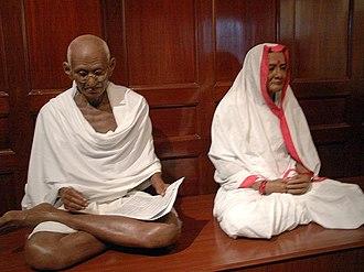 Kasturba Gandhi - Mohandas K. and Kasturba Gandhi at Eternal Gandhi Multimedia Museum, Gandhi Smriti (Birla House), Tees January Marg, New Delhi.