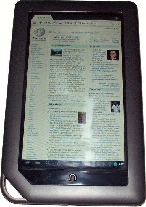 Nook Color Showing Wikipedia Index On Dolphin Browser HD