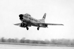 14th Fighter-Interceptor Squadron - F-86L 53-692 of the 14th Fighter-Interceptor Squadron, about 1958 landing at Sioux City