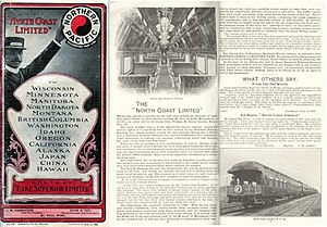 North Coast Limited - 1901 Timetable front and pages.