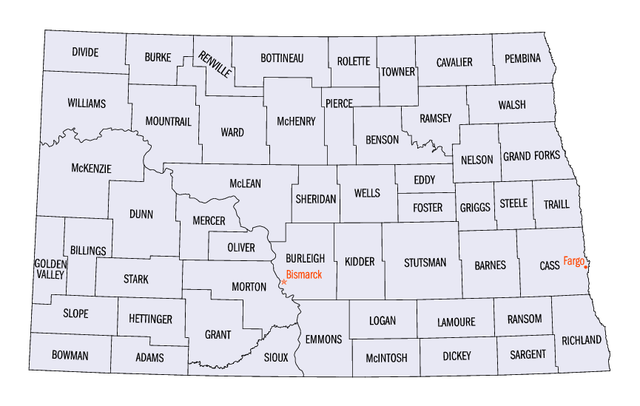 File:North Dakota counties map.png - Wikimedia Commons