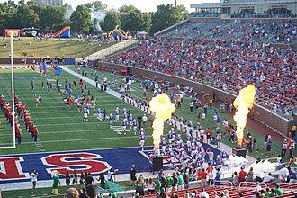 2017 SMU Mustangs football team - The 2017 SMU football team taking the field before the game against North Texas