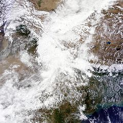 NASA satellite imagery of Northern India on June 17, showing rainclouds that led to the disaster